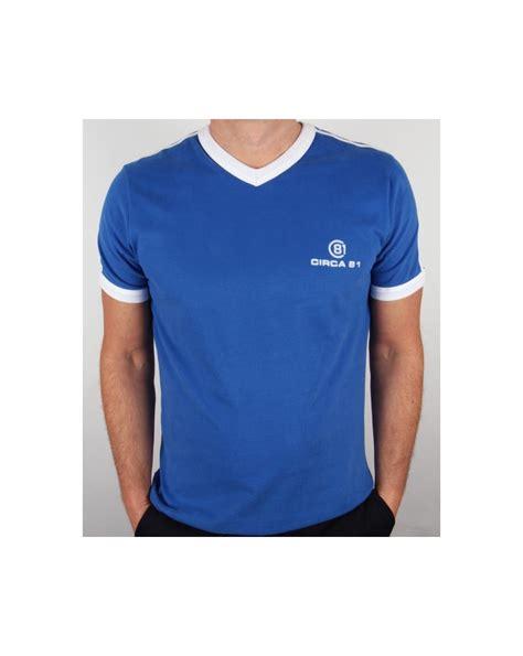 T Shirt White Line Blue circa 81 v neck t shirt royal blue white circa 81