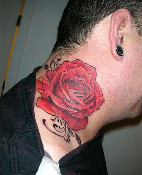 ruby rose neck tattoo 57 realistic roses neck tattoos