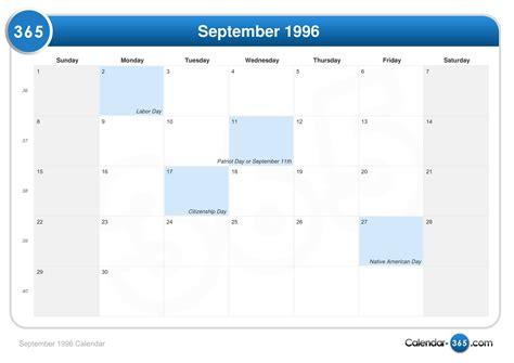 August 1996 Calendar September 1996 Calendar