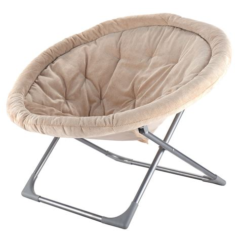 oversized large folding saucer moon chair corduroy  seat living room
