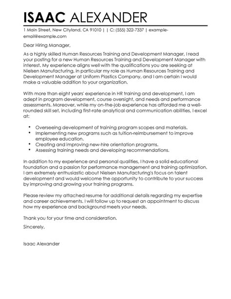 best training and development cover letter exles