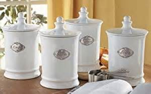 white kitchen canister sets amazon com french white and pewter kitchen canister set