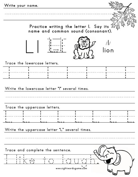 Letter L Worksheets by The Letter L