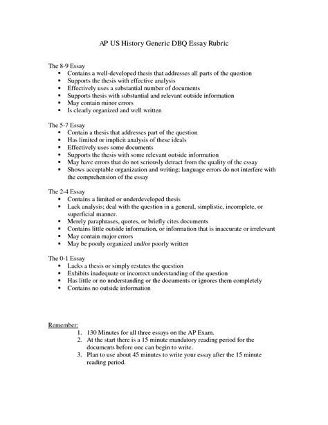 Apush Dbq Outline by Apush Dbq Exle Essay 9
