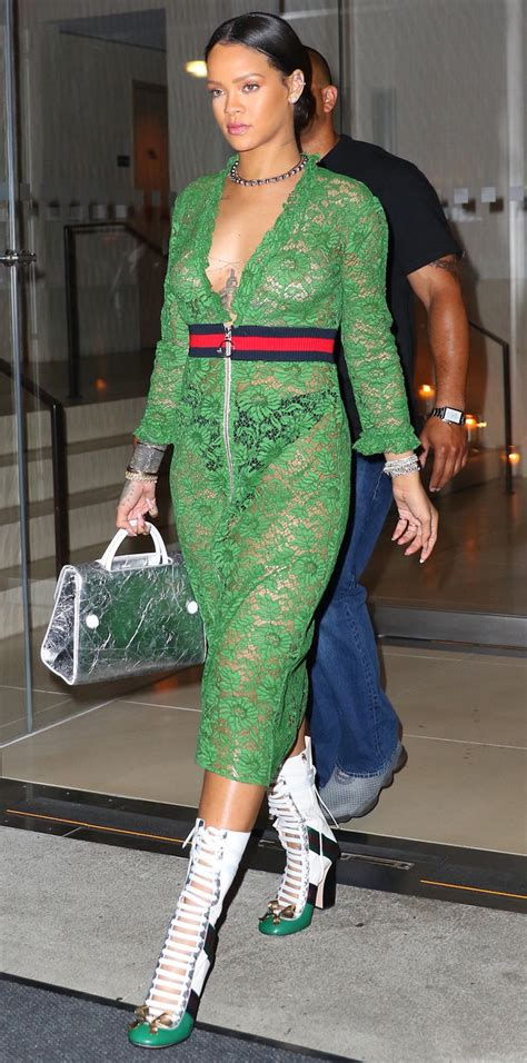 Rihanna Turns Heads in a Sheer Lace Gucci Dress in New York   InStyle.com