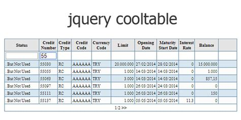 Jquery Filter Table by Js Tutorial Jquery Cooltable Creating Tables With