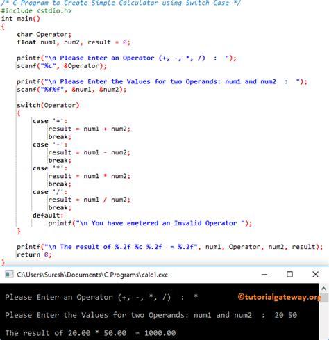 calculator using switch case c program to create simple calculator