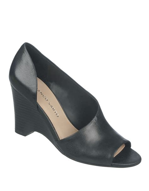 franco sarto leather wedge sandals in black lyst