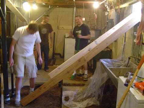 building a bathroom in the basement well you build a cement slide that is what