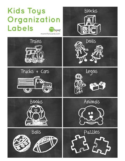 label templates for toy boxes free printable cute chalkboard kids toys organization