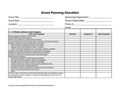 event checklist template excel calendar monthly printable