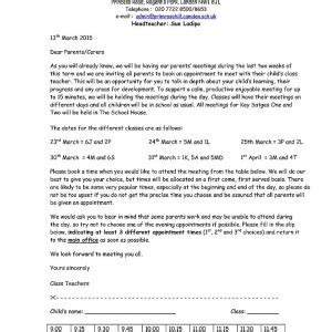 Parent Meeting Letter Letters Home Primrose Hill Primary School