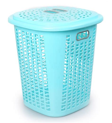Buy Cello Esquire Plastic 50 L Blue Laundry Basket With Laundry With Lid