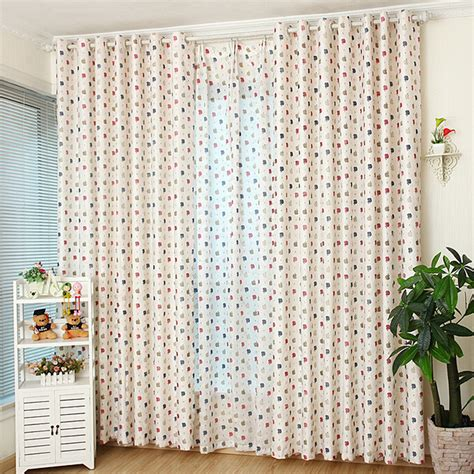 Nursery Curtain Material Colorful Fruit Apple Pattern White Polyester Best Nursery Curtains