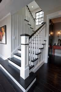 Stair Remodel by Replace Carpet With Dark Wood Floors And Paint Railing