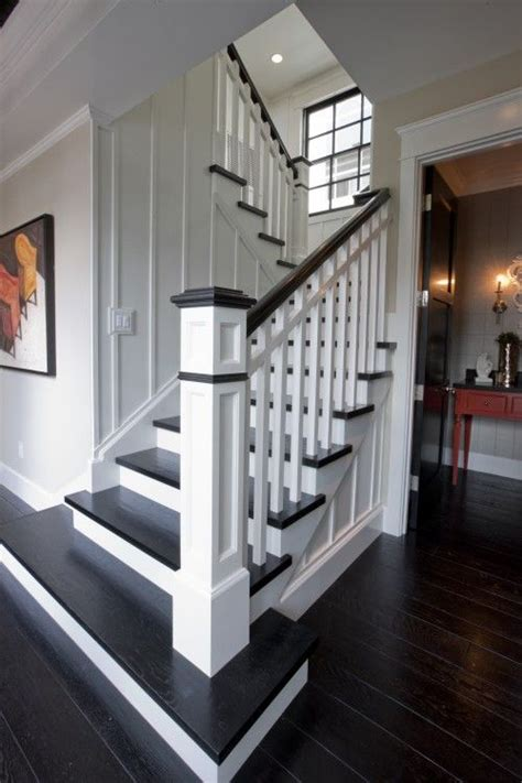 stairway ideas replace carpet with dark wood floors and paint railing