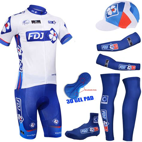 Gamis Set Jersey 3 2015 fdj cycling jersey cycling sets sleeve jersey and 3d gel bib with