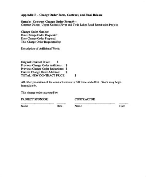contract request form template 8 sle change order request forms sle templates