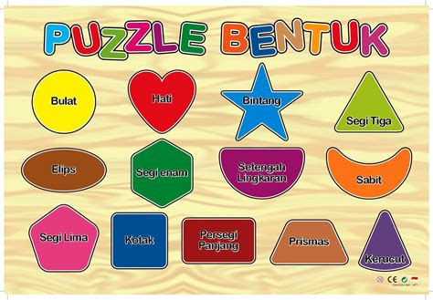 Mainan Bentuk puzzle sticker bentuk mainan kayu