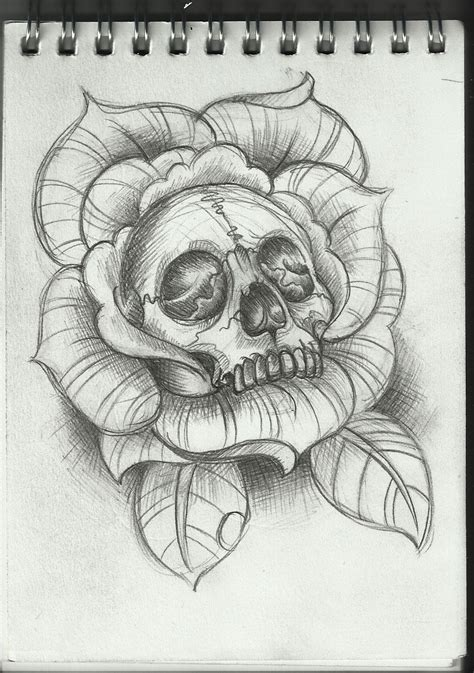 rose art tattoo skull inside of a design tattoos