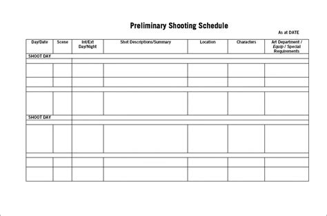 Shelagne Template Of Our Shooting Schedule Shooting Schedule Template