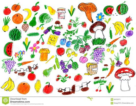 cartoon food collection fruit and vegetables child