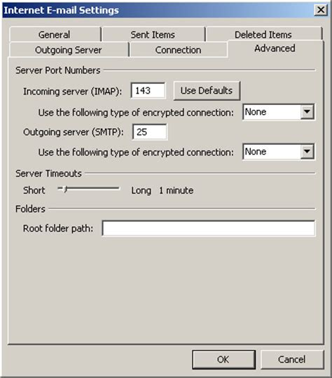 outlook 2010 authenticated smtp server default smtp port