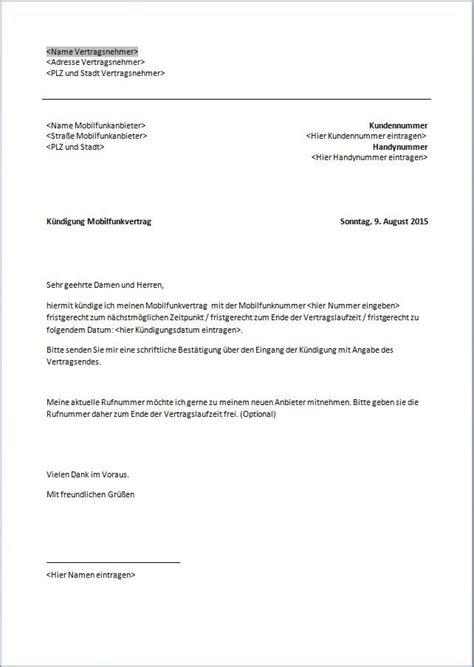 K Ndigung Schreiben Muster Handy vodafone k 252 ndigung vorlage k 252 ndigung vorlage fwptc