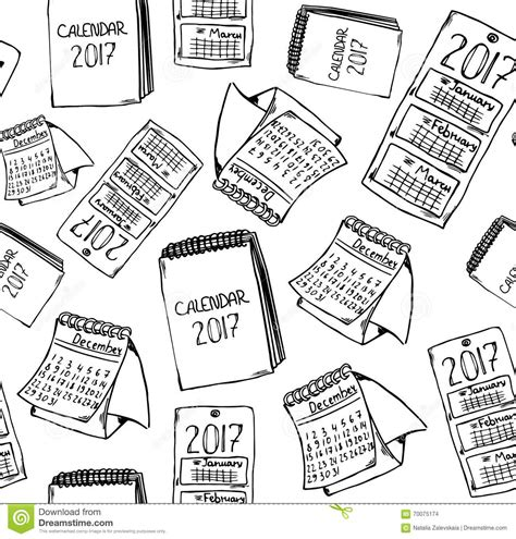 doodle calendario doodle 2017 calendar vector illustration cartoondealer