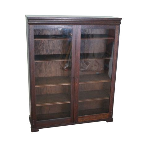 Antique Mission Style Oak 2 Door Bookcase Chairish Mission Style Bookshelves