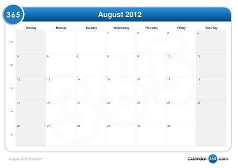 August 2012 Calendar August 2012 Calendar