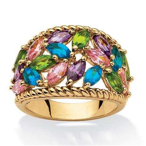 Nercy Ring Multicolour 1 2 25 tcw marquise cut multicolor cubic zirconia and glass cocktail ring 18k gold plated at