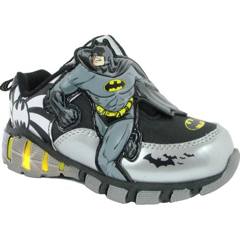 batman sneakers for dc comics batman toddler boy s black silver yellow light