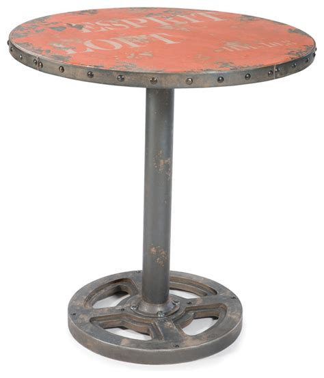 Industrial Bistro Table Wheel Table Orange Industrial Indoor Pub And Bistro Tables By Moe S Home Collection