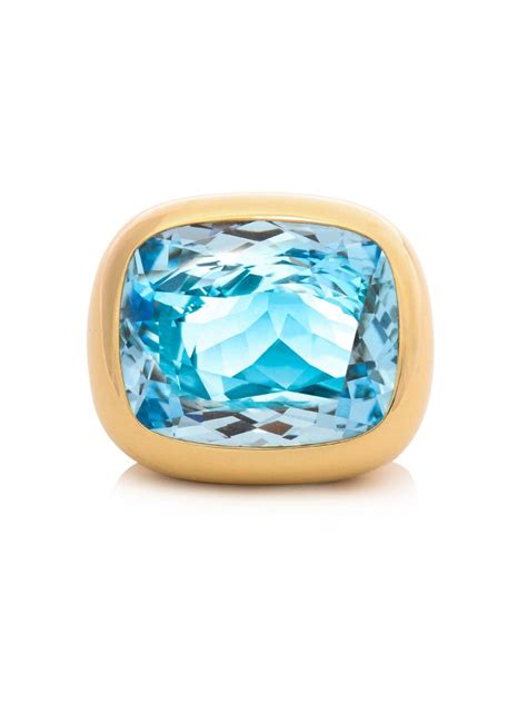 mcdonough blue topaz yellow gold ring in blue lyst