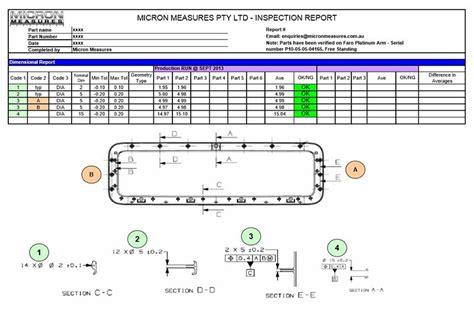 Dimensional Report Template micronmeasures 3d precision