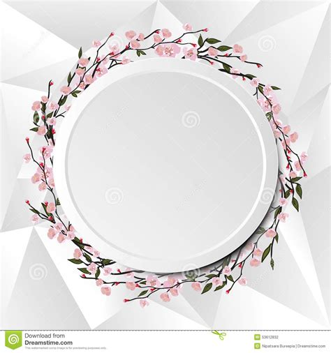 3302 cherry tree circle circle frame stock vector image of floral background 53612832