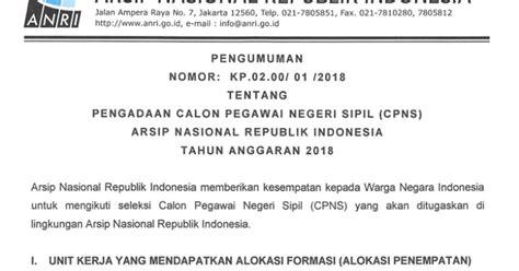 lowongan cpns   arsip nasional republik indonesia anri