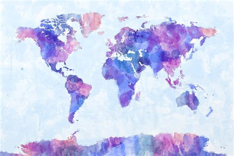 water color map map of the world map watercolor painting digital by