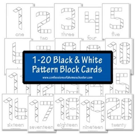 numbers with pattern blocks free black and white pattern block cards numbers 1 20