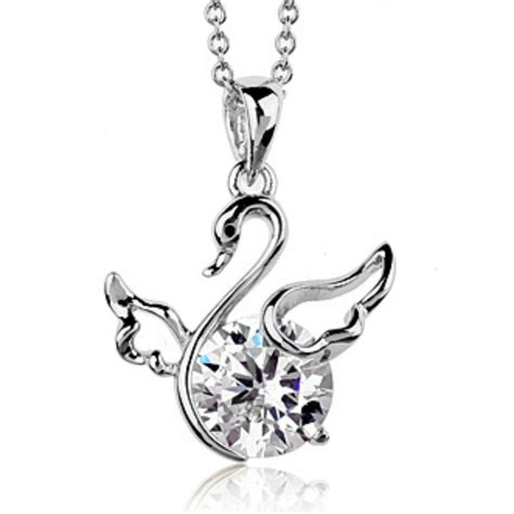 Kalung Luxury White Gold Plated 137 Free Rantai Box Pouch Cantik white gold finish swan pendant children necklace quality jewellery uk 5020879233984