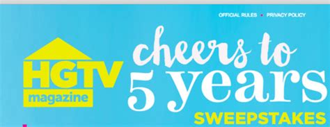 Hgtv Magazine Sweepstakes - hgtv magazine 5th anniversary sweepstakes sun sweeps
