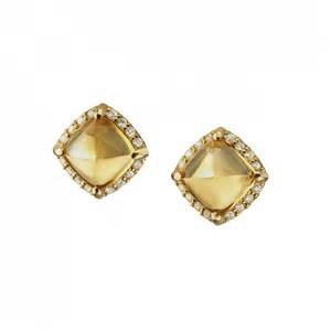 gold earrings studs 18k yellow gold citrine sugarloaf stud earrings with accents wedding jewelry by