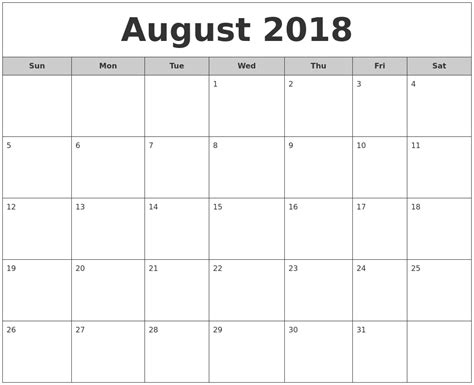 2018 Monthly Calendar July 2018 Monthly Calendar Printable