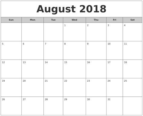 2018 Printable Monthly Calendar July 2018 Monthly Calendar Printable