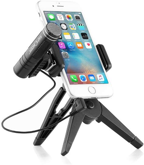 Condenser Microphone Phone Stand Holder 360 Degree Adjustable Mic this smartphone tripod with microphone is designed for