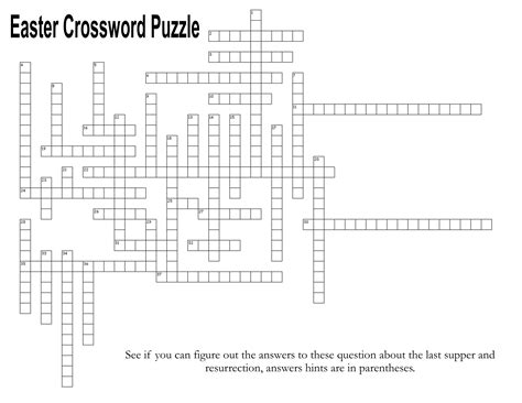 supper  resurrection easter crossword puzzle