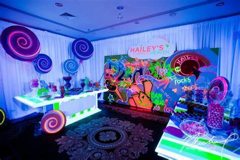 A Bright Neon Futuristic Candy Bar At A Bat Mitzvah Photo Neon Buffet