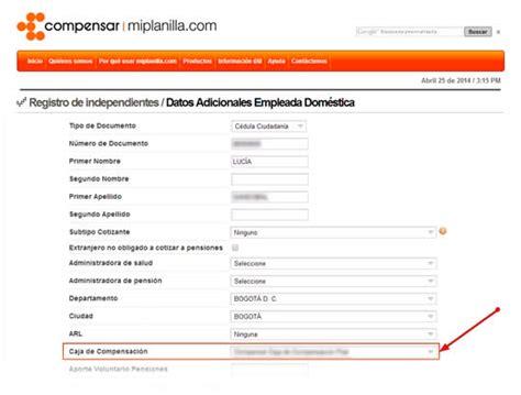 www compensar com con formularios empleados de servicio dom 233 stico deber 225 n ser afiliados a
