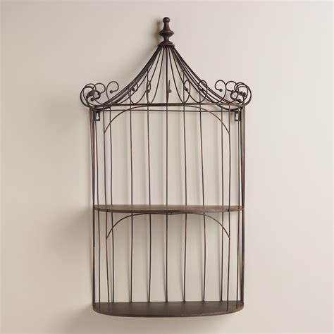 brown wrought iron shelf birdcage world market